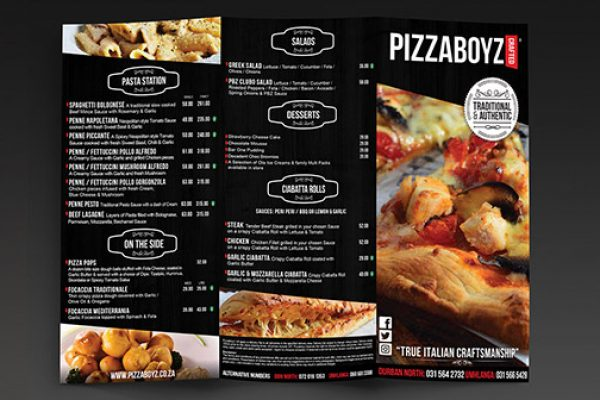 Pizzaboyz  Menu Design
